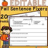 EDITABLE Fall Sentence Fixers