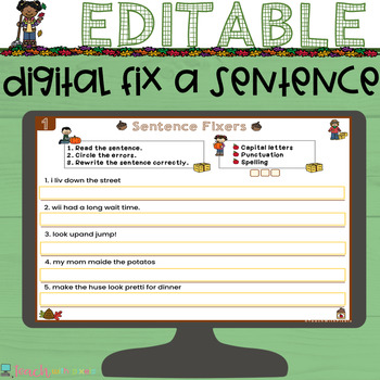 EDITABLE Fall Sentence Fixers for Google Classroom