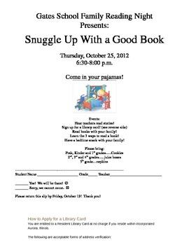 EDITABLE Family Reading Night Invitation