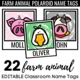 EDITABLE Farm Animal Polaroid Name Tags : Classroom Labels