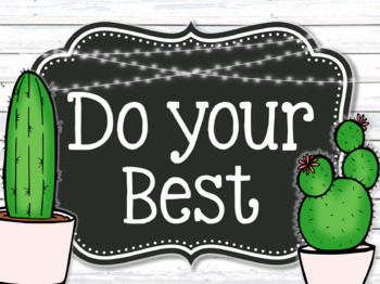 EDITABLE Farmhouse Cactus Classroom Rules