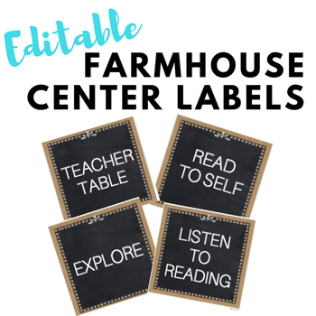 EDITABLE Farmhouse Centers Labels
