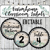 Farmhouse Book Bin Labels and Classroom Labels -EDITABLE-