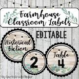 Farmhouse Book Bin and Classroom Labels Editable