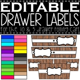 EDITABLE Farmhouse Wooden 10 and 5 Drawer Rolling Cart Lab