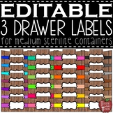 EDITABLE Farmhouse Wooden 3 Drawer Labels for Medium Steri