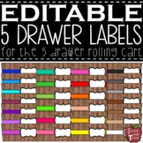 EDITABLE Farmhouse Wooden Shiplap 5 Drawer Rolling Cart Labels