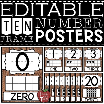 EDITABLE Farmhouse Wooden Shiplap Ten Frame Number Posters 0-20