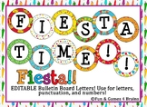 EDITABLE Fiesta themed circular bulletin board letters