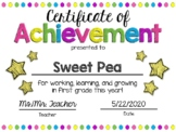 EDITABLE First Grade End of the Year Certificate of Achievement Award