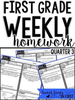 First Grade Homework EDITABLE {Quarter 3}