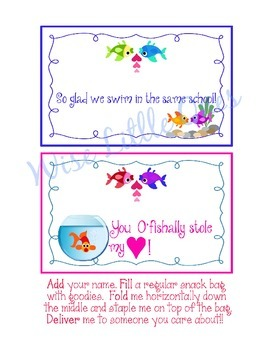 *EDITABLE* Fish ~Snack Gift Toppers for Students, Staff, Volunteers! EASY to do!