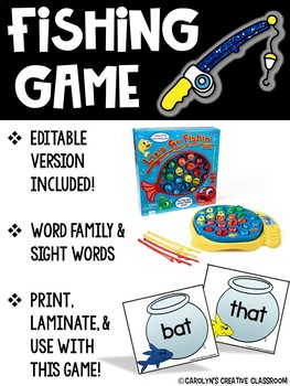 EDITABLE Fishing Game: Word Family and Sight Word Cards