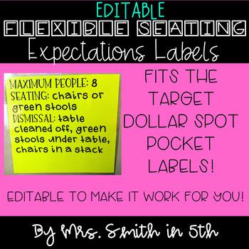 EDITABLE Flexible Seating Labels for Target Dollar Spot Pocket Labels