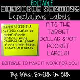 EDITABLE Flexible Seating Labels for Target Dollar Spot Po