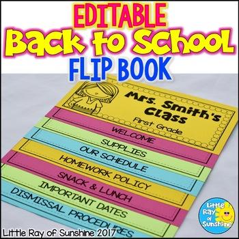 EDITABLE Flip Book: Back to School