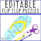 EDITABLE Flip Flop Puzzle: Make EDITABLE Back to School Ac