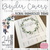EDITABLE Floral Farmhouse Themed Binder Covers + Spines