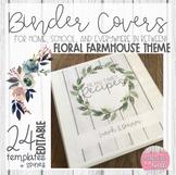EDITABLE Floral Farmhouse Themed Binder Covers
