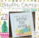 EDITABLE Cactus Themed Binder Covers