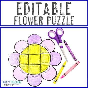 EDITABLE Flower Puzzle | Create Spring Activities on ANY Topic! Math, Literacy+