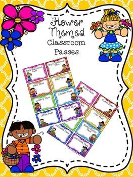 EDITABLE Flower Themed Classroom Passes