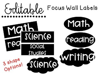 EDITABLE Focus Wall Labels