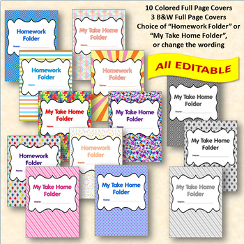 EDITABLE Folder Covers & Folder Labels - Left at home Right back to school BUNLE
