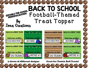EDITABLE Football Theme Treat Topper for Back to School