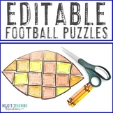 EDITABLE Football Themed Activities | FUN Homecoming or Sports Puzzles