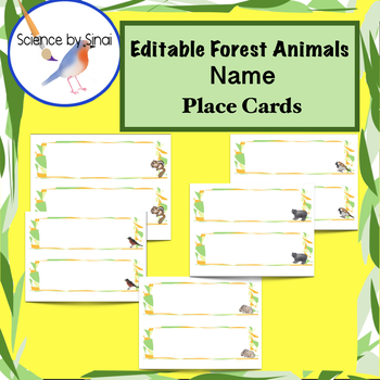 EDITABLE Forest Animals Theme DESK CARDS NAME PLACE CARDS