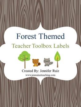 **EDITABLE** Forest Themed Teacher Toolbox Labels