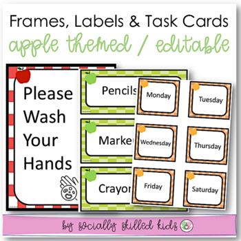 EDITABLE Frames, Labels and Task Cards {Checkered: School Themed}