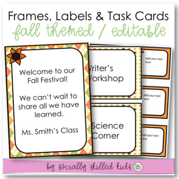 EDITABLE Frames, Labels and Task Cards {Fall Themed}