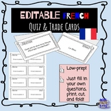 EDITABLE French cooperative learning quiz trade cards en Français