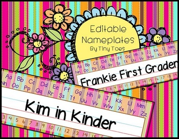 EDITABLE - Fun Striped Student Desk Nameplates for Back to School