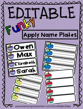 EDITABLE Funky Apple Name Plates