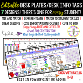 EDITABLE, GROWING Desk Tags/ Desk Info Tags/ Desk Name Pla