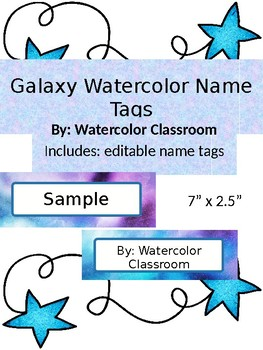 EDITABLE Galaxy Watercolor Name Tags- Back to School Shoot for the Stars labels