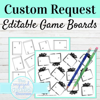 EDITABLE Game Boards with Book and Gift images