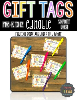 EDITABLE Gift Tag for Students