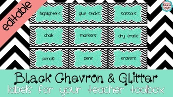 {EDITABLE} Glitter Toolbox Labels