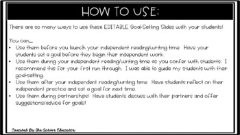 EDITABLE Goal-Setting Slides!