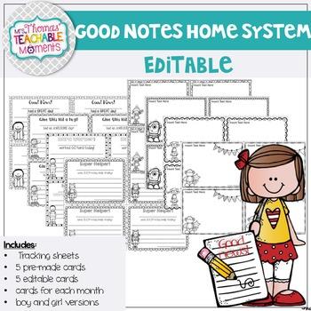 EDITABLE Good Notes Home - Parent Communication