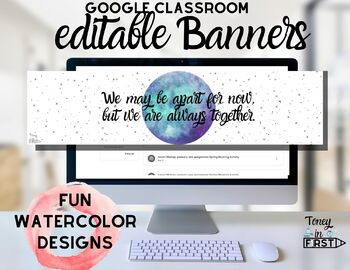 Editable Google Classroom Banners Header Distance Learning Online Learning Set 2