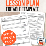 EDITABLE Google Docs Lesson Plan Template, Vertical Layout, 1 page Printable