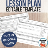 EDITABLE Google Docs Lesson Plan Template, Horizontal Layout, One Page