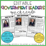 EDITABLE Government Leaders: mayor, governor, and president