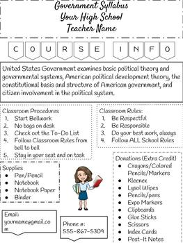EDITABLE Government Syllabus (Google Drive)