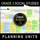 Grade 3 UNIT PLANS / Editable Bundle / SOCIAL STUDIES / ALL CLUSTERS / Manitoba